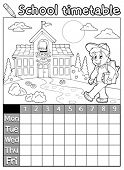 Coloring book school timetable 5 - eps10 vector illustration.