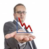 Business Man Holding Stock Graph