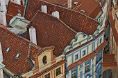 foto of red roof tile  - red tiled roofs the center of Prague view from above - JPG