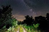 Night scene with rut road and Milky Way Galaxy in sky