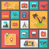 Travel and vacation icons set, flat design vector.