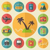 Travel, tourism and vacation icons set, flat design vector.