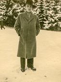 GERMANY, CIRCA FORTIES - Vintage portrait of man in winter