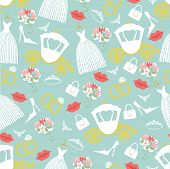 Vintage Wedding Seamless Pattern Set.bridal Shower