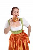 Young Red Head Woman In Traditional Bavarian Costume