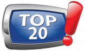 top 20 charts blue vector icon list pop poll result and award winners chart ranking music hits best