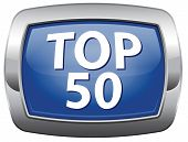 top 50 charts blue vector icon list pop poll result and award winners chart ranking music hits best