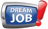 dream job search and find new jobs, application and vacant and hiring now blue vector icon