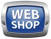 web shop blue vector icon or online shopping icon for internet webshop or store