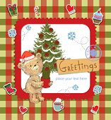 Season's Greetings - cute greeting card with Teddy bear and ornaments.