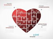 foto of compassion  - Love concept infographic template with heart made out of puzzle pieces - JPG