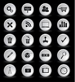Vector set web icons with reflection isolated on black.