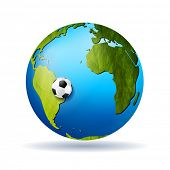Concept soccer vector background with grunge globe