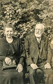 GERMANY, CIRCA THIRTIES - Vintage photo of elderly couple outdoor