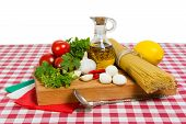Spaghetti And Ingredients For Cooking Sauce