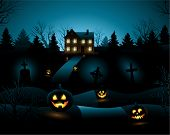 Blue scary Halloween haunted house background