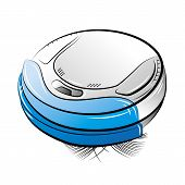 Blue Robotic Vacuum Cleaner