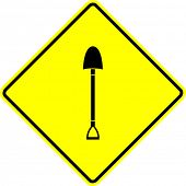 shovel yellow sign