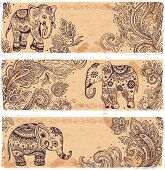 Vintage set of banners with ethnic elephants