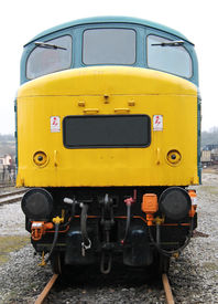 pic of loco  - The Front of a Powerful Diesel Engine Train Loco - JPG