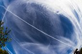 foto of northern hemisphere  - artificial clouds generated by aerosol sprays in the atmosphere to prevent global warming according to some experts - JPG