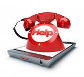 Classic old fashioned telephone with the word help, coming out of a smart phone