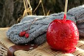 gloves and candy apple