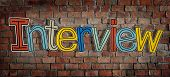Interview Brick wall Single Word Text Background Clean Concept