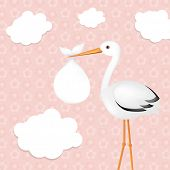 Stork With Girl Baby With Gradient Mesh, Vector Illustration