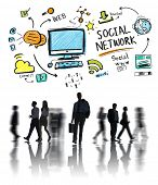 Social Network Social Media Business People Commuter Concept