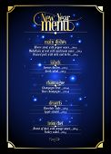 New Year menu list, dark blue with gold design with place for text. Eps10
