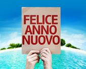 Happy New Year (in Italian) card with a beach on background