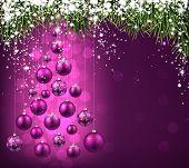 Christmas tree with purple christmas balls. Vector illustration.