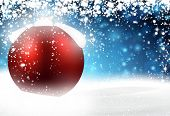 Red bauble. Winter blue background with snowfall. Vector illustration.