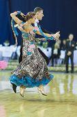 Minsk-belarus, October 5, 2014: Unidentified Professional Dance Couple Performs Adult Standard Progr