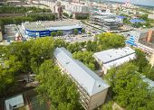 Bird eye view on Energetikov street. Tyumen