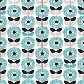 image of poppy flower  - Seamless retro abstract poppy flower blue winter floral background pattern in vector - JPG