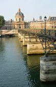 Mid Morning At Pont Des Arts Bridge & Institut De France Building, Paris France.