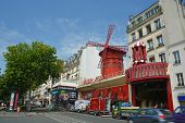 The Famous Moulin Rouge Nightclub In Monmatre, Paris France.