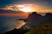 Sunset Behind Mountains in Rio de Janeiro