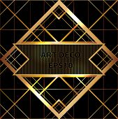 Art deco geometric pattern gold