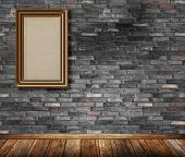 Old Wooden Frame On Bricks Wall.