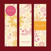 Vector warm stars vertical banners set pattern background
