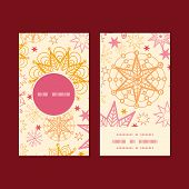 Vector warm stars vertical round frame pattern business cards set