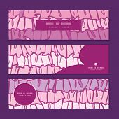 Vector pink ruffle fabric stripes horizontal banners set pattern background