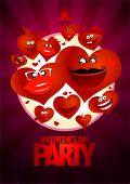 Valentine day party design with flying hearts.