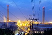 coal power station and night blue sky in hong kong