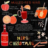 Christmas Recipe Of Hot Red Drink- Mulled Wine With  Spices: Honey,whole Cloves, Anise And Cinnamon