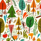 Cute Forest Background With Different  Trees, Bird And Other In Vector. Seamless Pattern Can Be Used