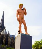 Adam From Michelangelo In Pink Is Standing In Front Of The Cologne Dome